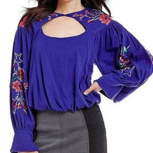 Free People Lita Embroidered Sleeves Blouse